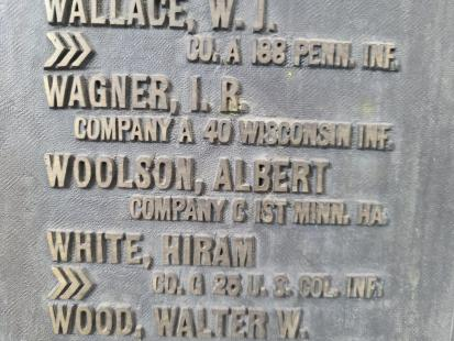 Woolsons name of GAR14 plaque